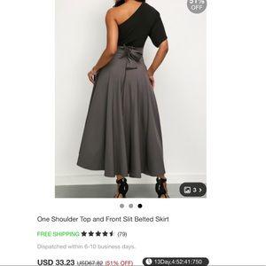 71e052493f7ac Dresses - One Shoulder Top and Front Slit Belted Skirt